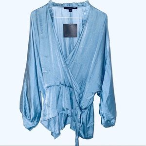 NWT  NEW Andrew Marc New York wrap blouse L sage